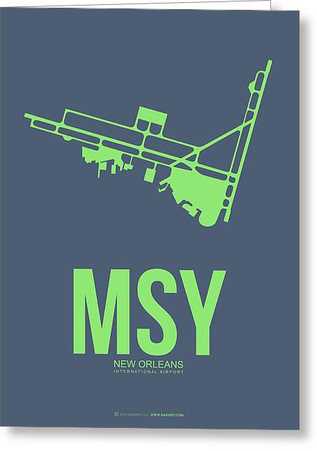 Airport Greeting Cards - MSY New Orleans Airport Poster 2 Greeting Card by Naxart Studio