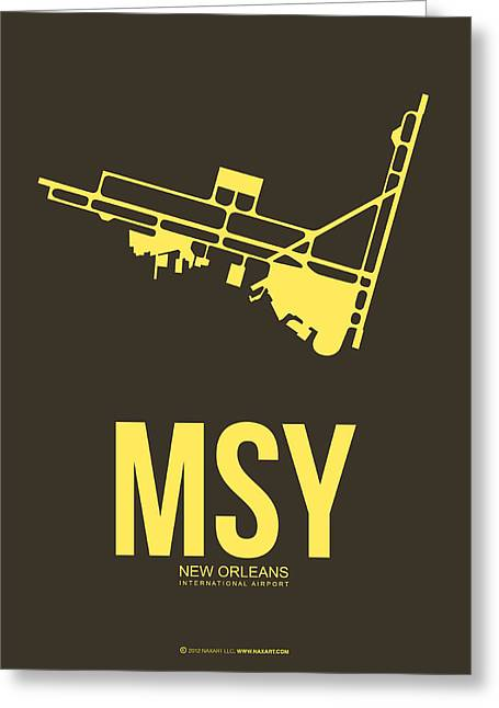 State Of Mississippi Greeting Cards - MSY New Orleans Airport Poster 3 Greeting Card by Naxart Studio