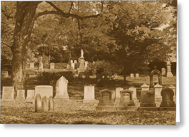 Auburn Ma Greeting Cards - Mt Auburn Cemetery 13 Sepia Greeting Card by Michael Saunders