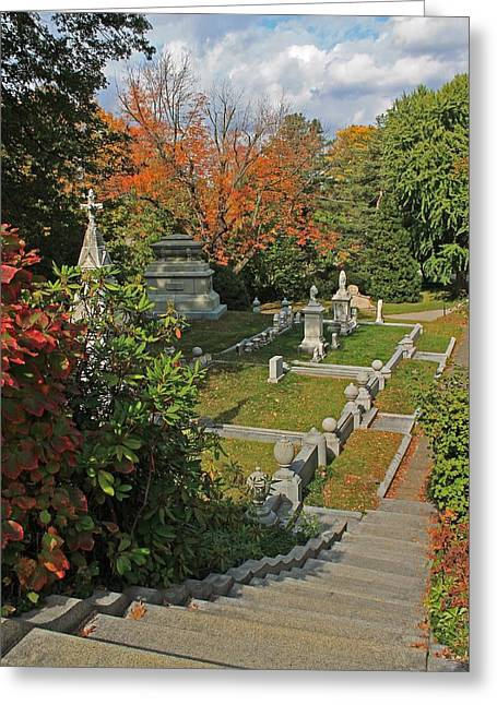 Auburn Ma Greeting Cards - Mt Auburn Cemetery 14 Greeting Card by Michael Saunders