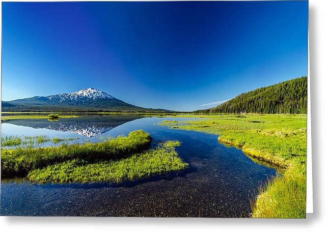 Mt Bachelor Greeting Cards - Mt. Bachelor Reflection and Forest Greeting Card by Jess Kraft