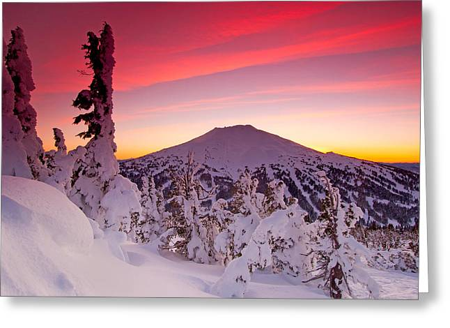 Mountain Cabin Greeting Cards - Mt. Bachelor Winter Twilight Greeting Card by Kevin Desrosiers