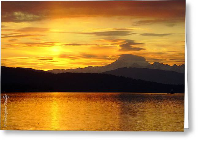 Christopher Fridley Greeting Cards - Mt Baker Sunrise Greeting Card by Christopher Fridley