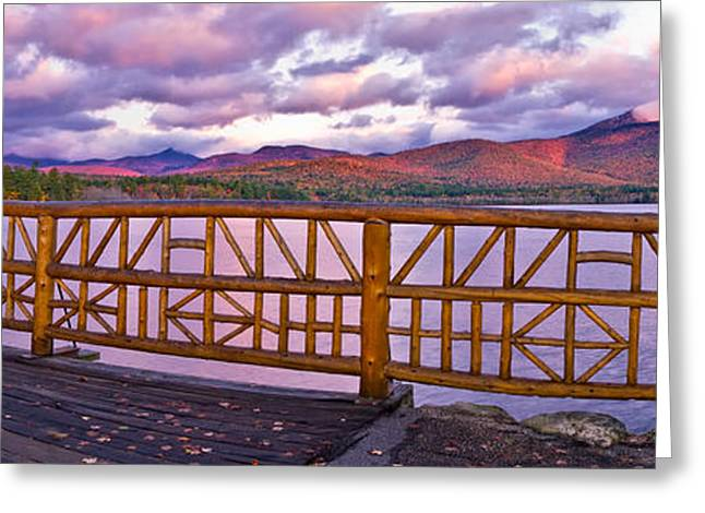 Foliage In White Mountains Greeting Cards - Mt Chocorua Autumn Panorama Greeting Card by Jeff Sinon