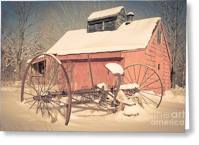 New England Farms Greeting Cards - Mt. Cube Farm Old Sugar Shack Greeting Card by Edward Fielding