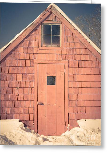 New England Farms Greeting Cards - Mt. Cube Sugar Shack Orford New Hampshire Greeting Card by Edward Fielding
