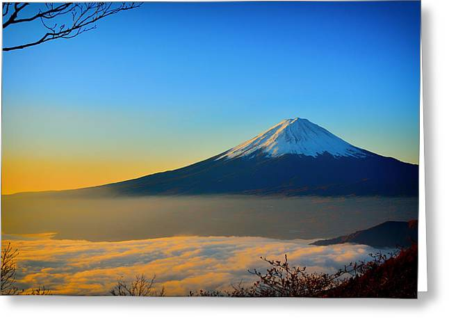 Mt Greeting Cards - Mt Fuji Sunrise Greeting Card by Mountain Dreams