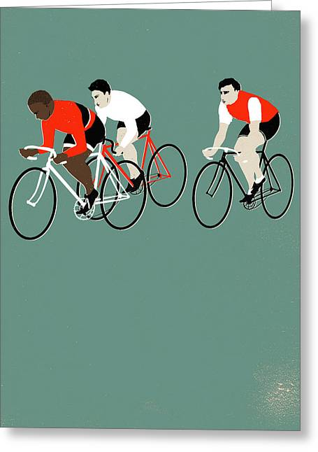 Bike Race Greeting Cards - MT Green Greeting Card by Eliza Southwood