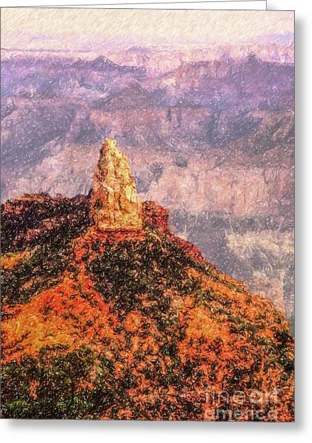 Geology Greeting Cards - Mt Hayden North Rim Grand Canyon Greeting Card by Liz Leyden