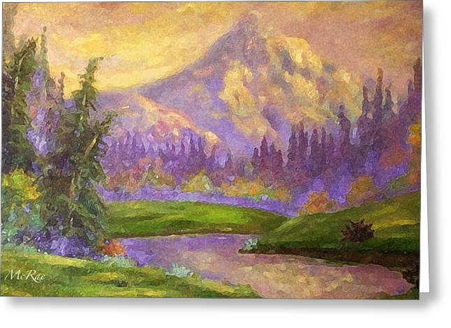 Dappled Light Greeting Cards - Mt. Hood at Dawns Early Light Greeting Card by Glenna McRae