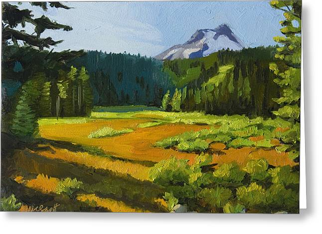 Mt Hood Greeting Cards - Mt. Hood Meadow Greeting Card by Alice Leggett