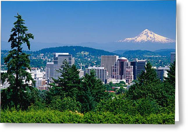 High Rise Greeting Cards - Mt Hood Portland Oregon Usa Greeting Card by Panoramic Images