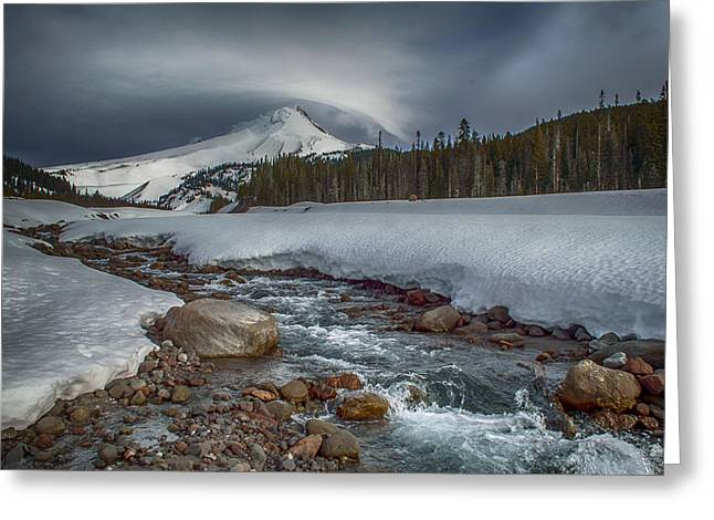 Mountains Greeting Cards - Mt Hood white river snow park Greeting Card by Exquisite Oregon
