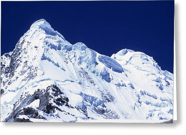 Snow Cornice Greeting Cards - Mt Hualcan Greeting Card by James Brunker