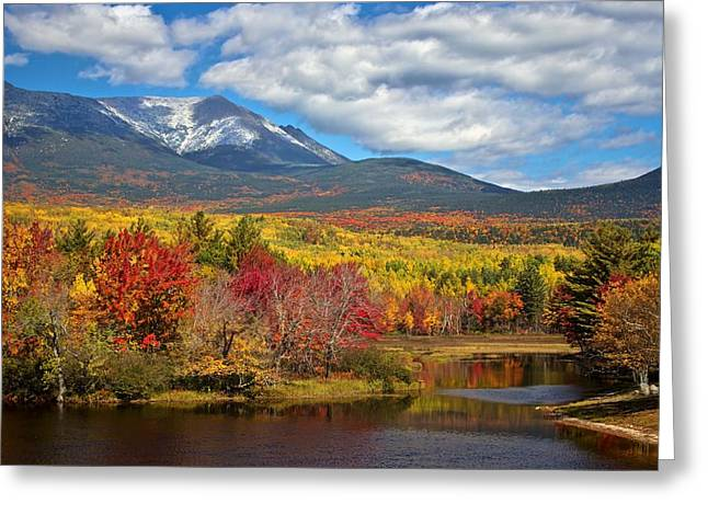 Recently Sold -  - Pond In Park Greeting Cards - Mt. Katahdin from Abol Bridge Greeting Card by Jack Zievis