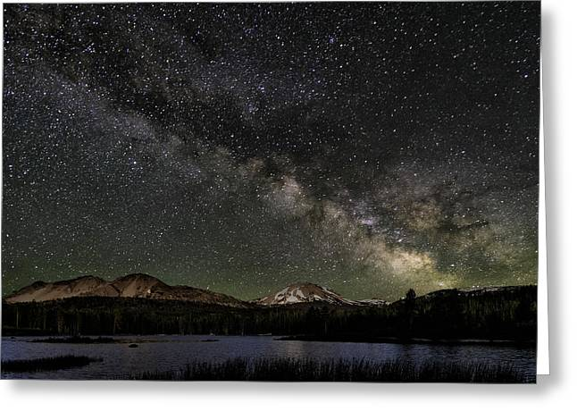 Night-scape Greeting Cards - Mt Lassen and Milky Way Greeting Card by Keith Marsh