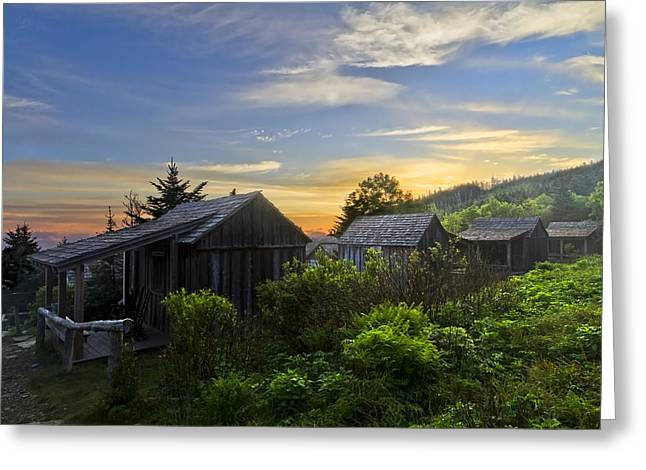 Old Cabins Greeting Cards - Mt LeConte Before Dawn Greeting Card by Debra and Dave Vanderlaan
