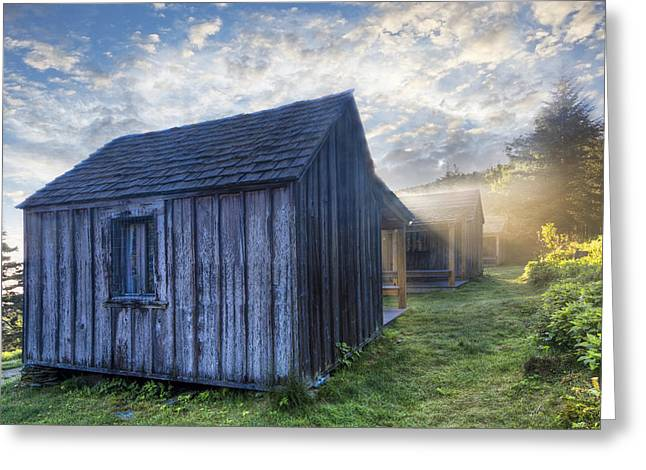 Tennessee Farm Greeting Cards - Mt LeConte Cabins Greeting Card by Debra and Dave Vanderlaan