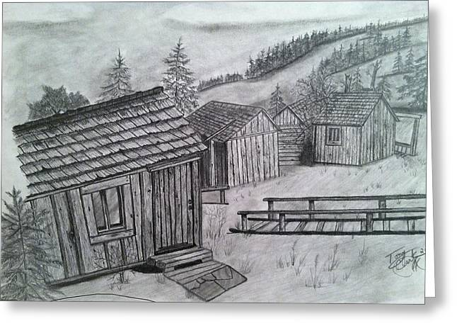 Mountain Cabin Drawings Greeting Cards - Mt LeConte Cabins Greeting Card by Tony Clark