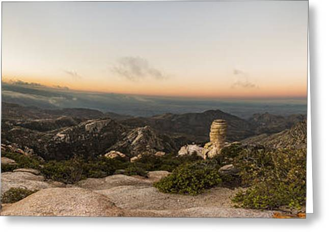 Mt. Lemmon Windy Point Panorama Greeting Card by Chris Bordeleau