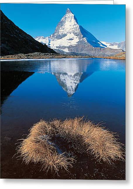 Reflections Of Sky In Water Greeting Cards - Mt Matterhorn & Riffel Lake Switzerland Greeting Card by Panoramic Images