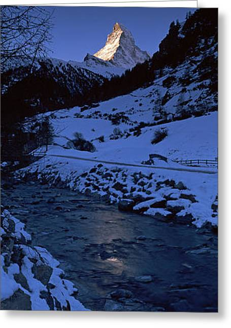 Swiss Photographs Greeting Cards - Mt Matterhorn From Zermatt, Valais Greeting Card by Panoramic Images