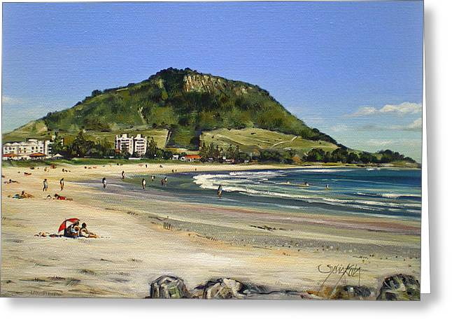 Mount Maunganui Greeting Cards - Mt Maunganui Beach 081209 Greeting Card by Sylvia Kula