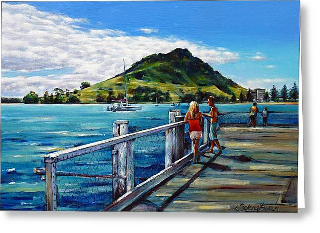 Mount Maunganui Greeting Cards - Mt Maunganui Pier 140114 Greeting Card by Selena Boron
