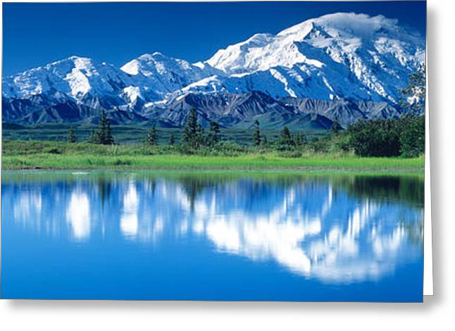 Denali National Park Greeting Cards - Mt Mckinley And Wonder Lake Denali Greeting Card by Panoramic Images