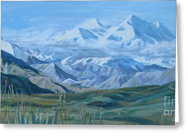 Mountain Valley Paintings Greeting Cards - Mt McKinley Greeting Card by Anda Kett
