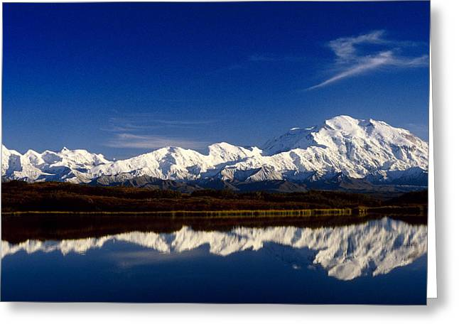 Beautiful Scenery Greeting Cards - Mt Mckinley Relfected In Wonder Lake Greeting Card by John Warden