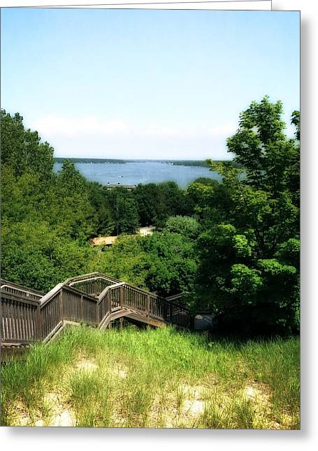 Michelle Greeting Cards - Mt. Pisgah Dune Boardwalk Greeting Card by Michelle Calkins