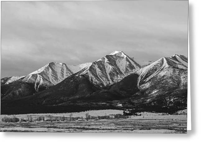 Arkansas Greeting Cards - Mt. Princeton Black and White Greeting Card by Aaron Spong