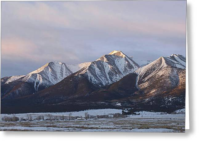 Rocky In Spring Greeting Cards - Mt. Princeton Panorama Greeting Card by Aaron Spong