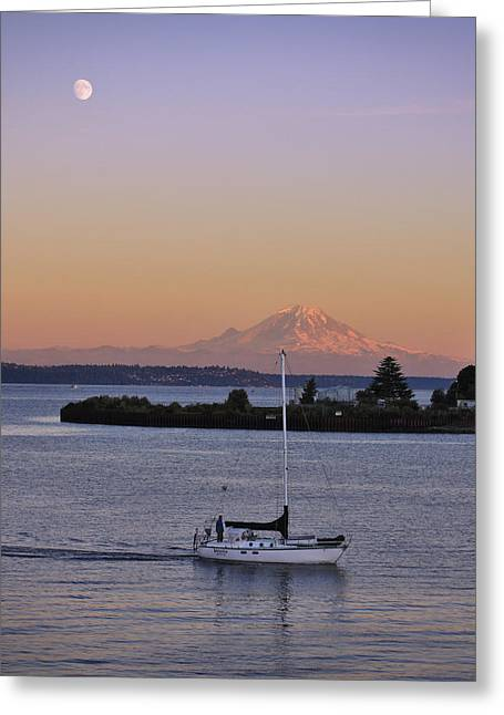 Sailor Greeting Cards - Mt. Rainier Afterglow Greeting Card by Adam Romanowicz
