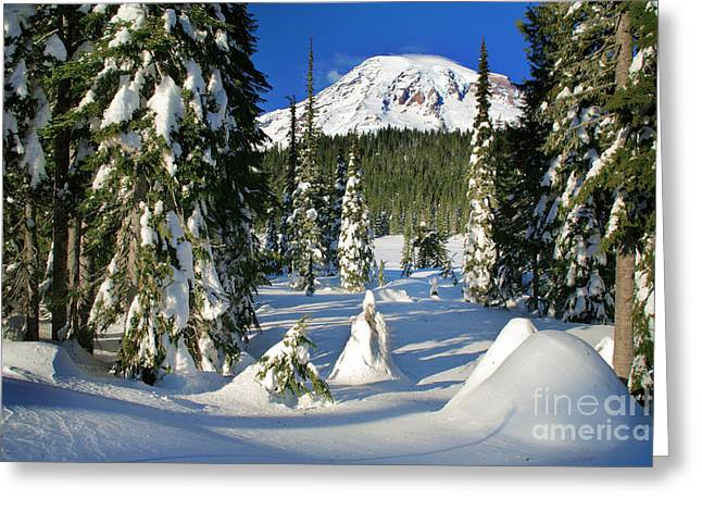 Hike Greeting Cards - Mt Rainier at Reflection Lakes in Winter Greeting Card by Inge Johnsson