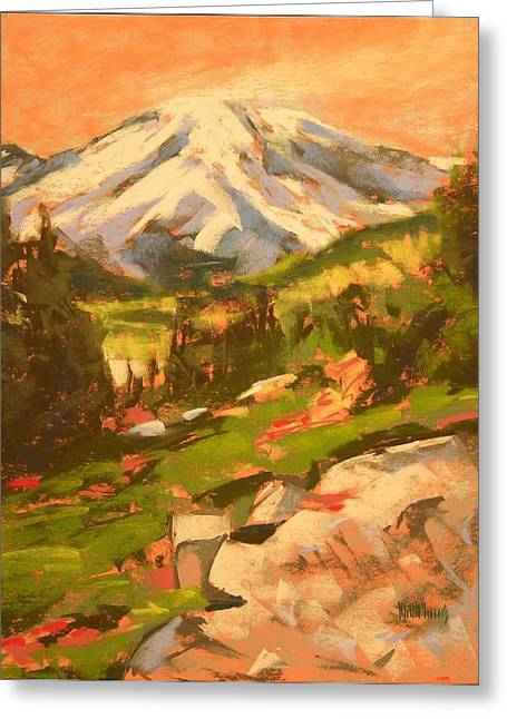 Mt Pastels Greeting Cards - Mt Rainier From Sourdough Trail Greeting Card by Mary McInnis