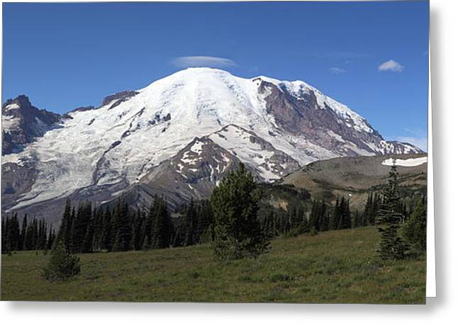 Mountains With Snow Greeting Cards - Mt Rainier From Sunrise Park Greeting Card by Angie Vogel