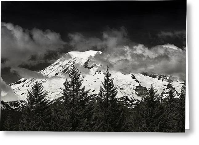 Wa Greeting Cards - Mt Rainier Panorama B W Greeting Card by Steve Gadomski
