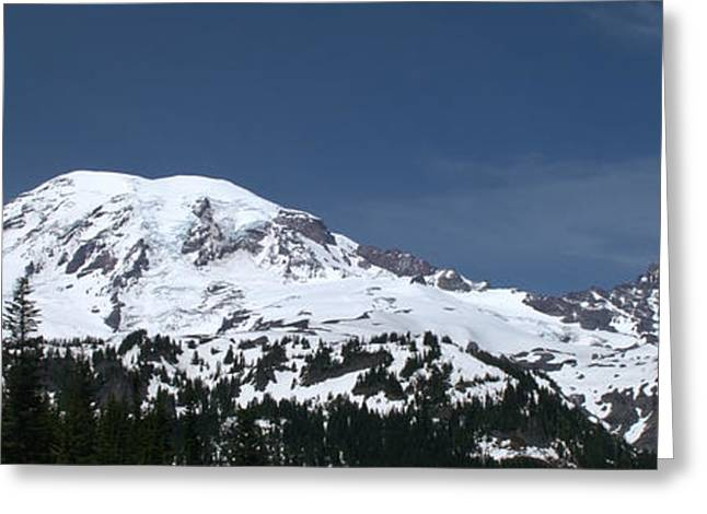 Travel Photography Greeting Cards - Mt Rainier Panoramic View From The South Greeting Card by Brian Harig
