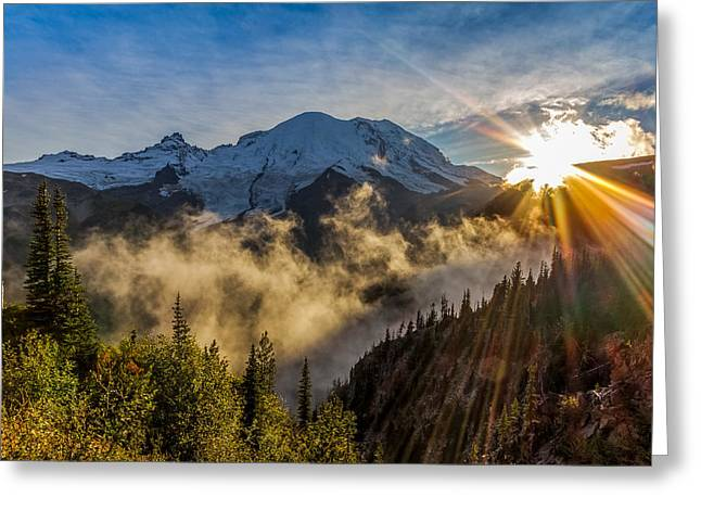 Pacificnorthwest Greeting Cards - Mt Rainier Sunburst Greeting Card by Ken Stanback