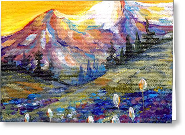 Mt Greeting Cards - Mt. Rainier Sunset Greeting Card by Peggy Wilson