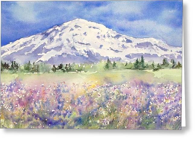 Over Sized Greeting Cards - Mt Rainier Wildflowers Greeting Card by Tamara Gonda