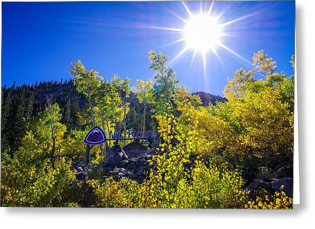Mount Rose Ski Resort Greeting Cards - Mt. Rose Fall Color Sunburst Greeting Card by Scott McGuire