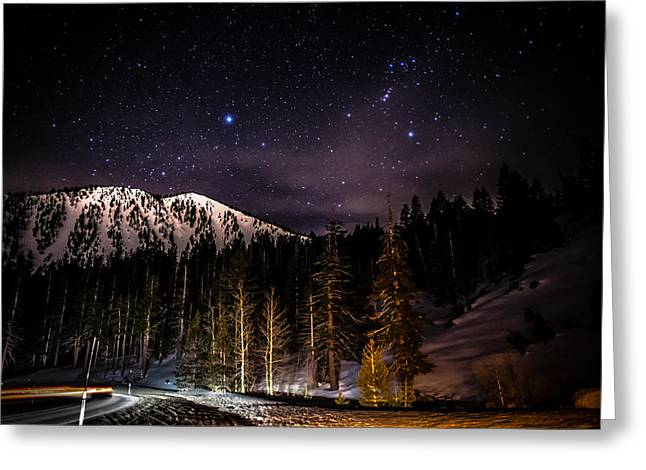 Snow Covered Mountain Greeting Cards - Mt. Rose Highway and Ski Resort at Night Greeting Card by Scott McGuire