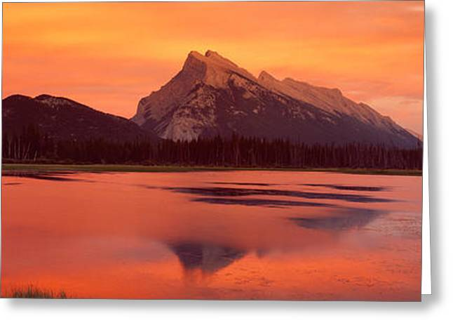 Vermillion Greeting Cards - Mt Rundle & Vermillion Lakes Banff Greeting Card by Panoramic Images