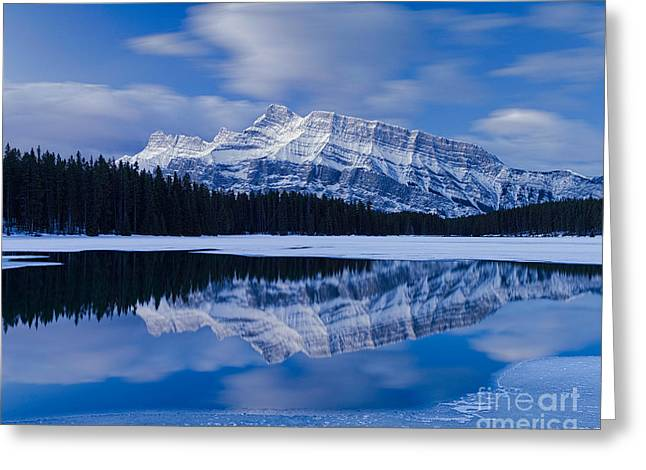 Rundle Greeting Cards - Mt. Rundle Blues Greeting Card by Royce Howland