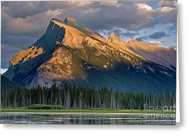 Storm Prints Digital Art Greeting Cards - Mt. Rundle Grandeur Greeting Card by Jerry Fornarotto