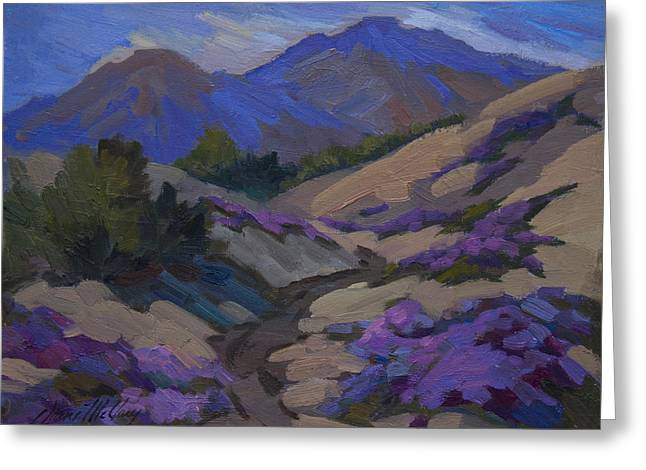 Verbena Greeting Cards - Mt. San Jacinto and Desert Verbena Greeting Card by Diane McClary
