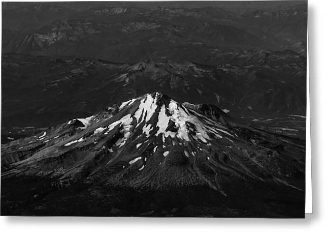 Mt. Shasta Greeting Cards - Mt Shasta Black and White Greeting Card by John Daly